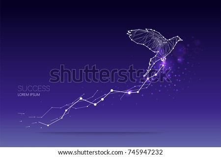 The particles, geometric art, line and dot of bird flying abstract vector illustration.  graphic design concept of business growth - line stroke weight editable