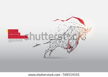 The particles, geometric art, line and dot of Bull moving abstract vector illustration.  graphic design concept of business fight - line stroke weight editable