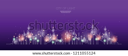 The particles, geometric art, line and dot of city night time. abstract vector illustration. graphic design concept of future living.- line stroke weight editable
