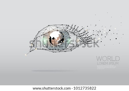The particles, geometric art, line and dot of Eye graphic. abstract vector illustration.  graphic design concept of vision. - line stroke weight editable