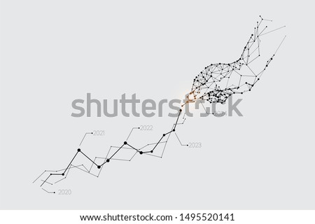 The particles, geometric art, line and dot of hand pickup the graph. abstract vector illustration. graphic design concept of business. - line stroke weight editable