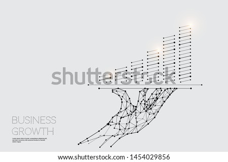 The particles, geometric art, line and dot of Hand served. abstract vector illustration. graphic design concept of business. - line stroke weight editable