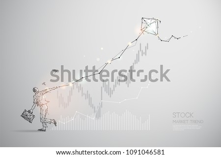 The particles, geometric art, line and dot of stock market trend. abstract vector illustration. graphic design concept of business - line stroke weight editable