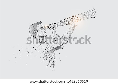 The particles, geometric art, line and dot of watching the telescope. abstract vector illustration. graphic design concept of business vision. - line stroke weight editable