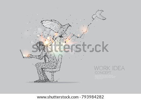 The particles, geometric art, line and dot of working hard abstract vector illustration.  graphic design concept of idea - line stroke weight editable