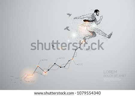 The particles, geometric art of jumping. abstract vector illustration. graphic design concept of business - line stroke weight editable