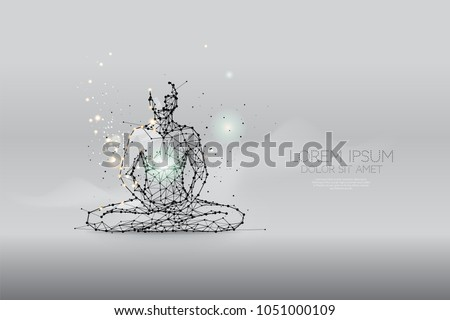 The particles, polygonal, geometric art - meditation abstract vector illustration. concept of health - line stroke editable