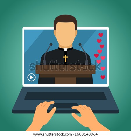 the pastor conducts church services online. Home church during quarantine due to coronavirus Covid-19. Online church of Jesus Christ. vector illustration
