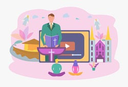 The pastor conducts online service to God. Online sermon system, the concept of studying the word of God. Personal blog of a pastor or priest. Colorful vector illustration.