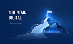 The path to success in the digital futuristic style. Business goals achievement concept. Vector illustration of a mountain with a flag in a polygonal wireframe style