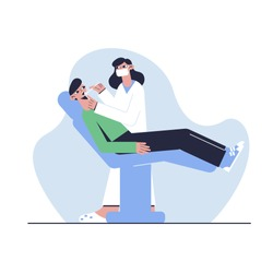 The patient sits in the dentist's chair. Medical concept. Vector illustration.
