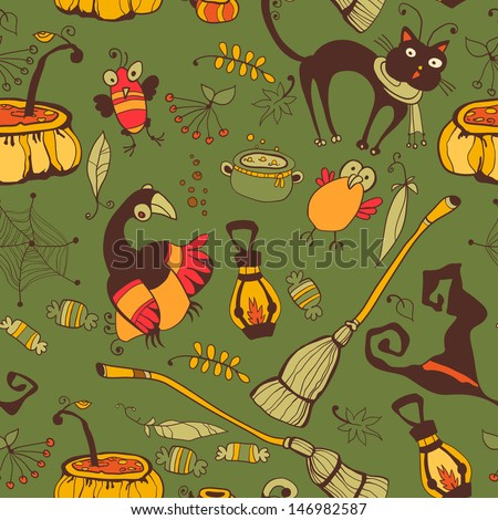 The pattern for the autumn holidays. Halloween Day, Thanksgiving Harvest