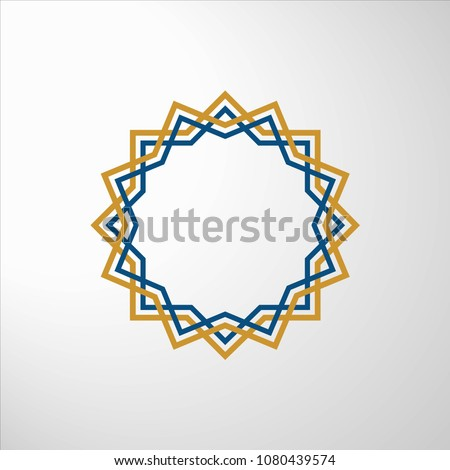 the pattern of Islamic geometry is cream and blue