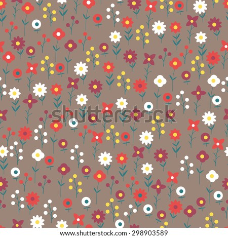 The pattern of small flowers. Colorful pattern of several types of small flowers. Dark option.