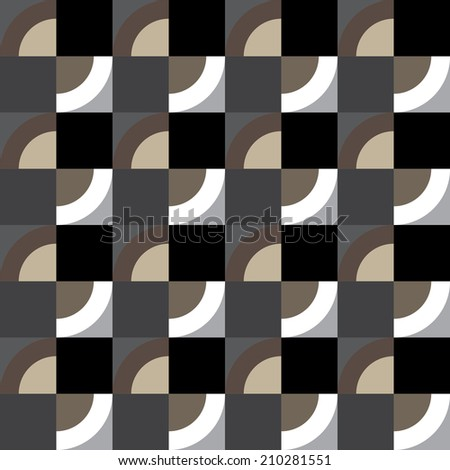 The pattern of squares and quarters of a circle