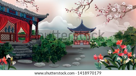 the pavilion with tree  plum