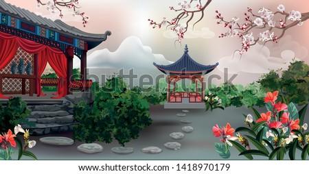 the pavilion with tree  plum