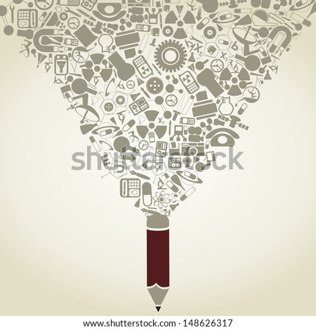The pencil writes a science A vector illustration