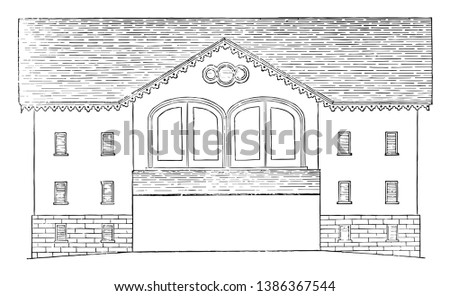 The Pennsylvanian barn, Locust Grive Farm, building the barn into a hillside, wooded highlands, vintage line drawing or engraving illustration.