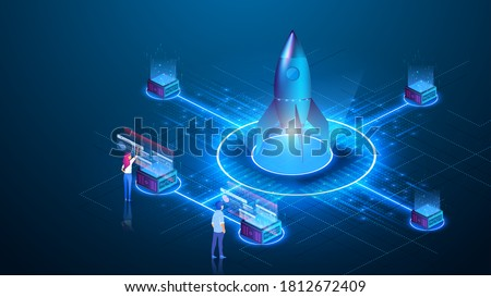 The people launching the rocket, the concept of a startup. Successful project launch. Creative business, customized.  Isometric vector illustration. Landing page template for web. Virtual dashboard.