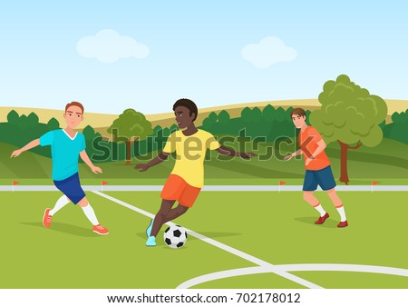 The people playing football in the field stadium. Soccer man players vector illustration.