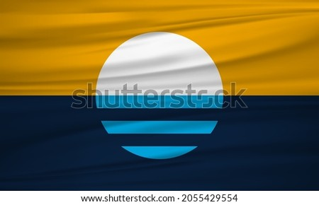 The People's Flag of Milwaukee, Wisconsin, USA. Realistic waving flag of Milwaukee vector background.