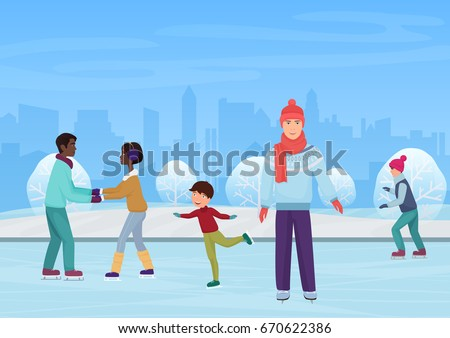 The people skating on an open-air ring in the winter vector illustration.