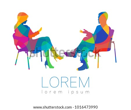 The people talk. Counselling or Psychotherapy session. Man woman talking while sitting. Silhouette profile. Modern symbol logo. Design concept sign. Rainbow bright and colorful