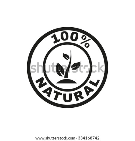 The 100 percent natural icon. Eco and bio, ecology symbol. Flat Vector illustration