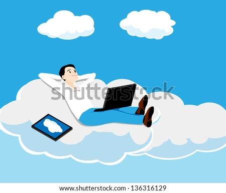 the person with the computer lies on a cloud
