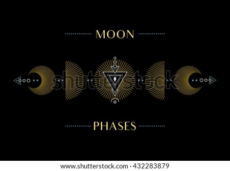 The Phases of the Moon. Cycle from New Moon to Full. Vector Illustration.