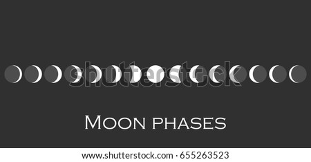 The phases of the moon. The whole cycle from new moon to full. Vector illustration