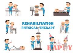 The physical therapy is working caregivers. Cartoon vector illustration.