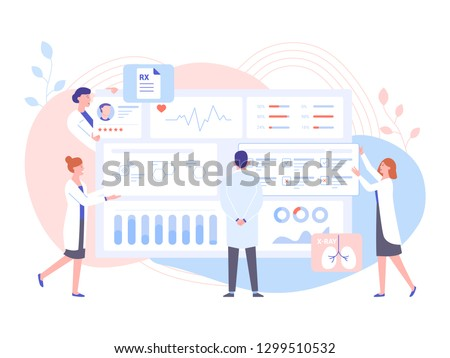 The physician doctor and the nurses analyze the patient's medical data. Big dashboard with information. Diagnosis of diseases, the study of tests and treatment. Pastel vector illustration. #1299510532