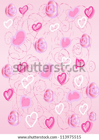 the pink background with hearts