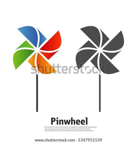 The pinwheel logo flat icon vector illustrations. Foto stock ©