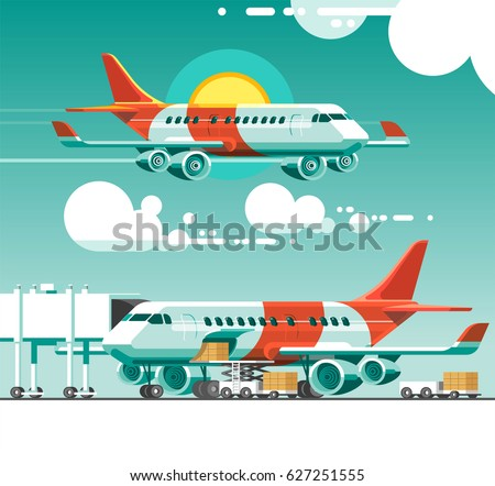 The plane flying between the clouds on a background of the sun. Airplane is being loaded with cargo in preparation for departure. 3d vector illustration.