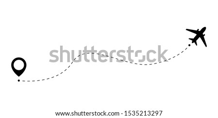 The plane follows the dotted line from the start point to the end point. Airplane route on a white background. Vector illustration.