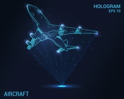 The plane hologram. Digital and technological background of the plane. Design a futuristic airliner
