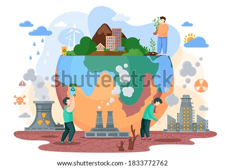 The planet Earth is a victim of society and it s way of life. Human makes the planet suffer from destroyed soils, acid rains, radiation emissions, polluted air, lack of waste processing plants stock photo