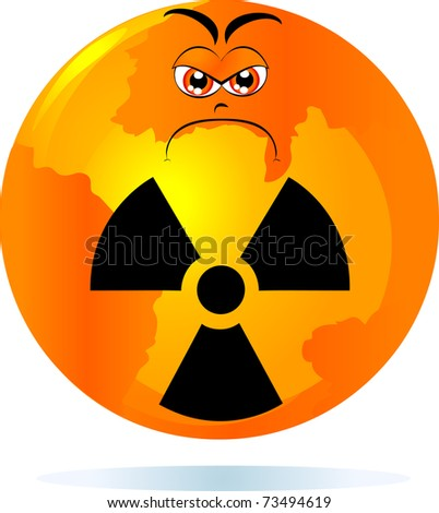 The planet Earth is angry, because contaminated by nuclear radiation. Vector