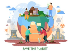 The planet Earth is suffers from human activity. Human bring to the nature explosions, deforestation, acid rains, radiation emissions, polluted air. Plan to save the planet from repercussion