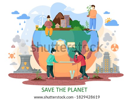 The planet Earth is suffers from human activity. Human bring to the nature explosions, deforestation, acid rains, radiation emissions, polluted air. Plan to save the planet from repercussion stock photo