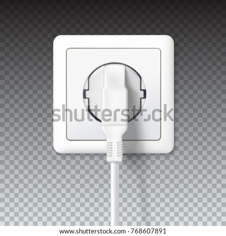 The plug is plugged into the power lines. White plug inserted in a wall socket. 3D illustration isolated on transparent background. Icon of device for connecting electrical appliances, equipment