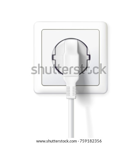 The plug is plugged into the power lines. White plug inserted in a wall socket. Icon of device for connecting electrical appliances, equipment. 3D illustration isolated on white background.