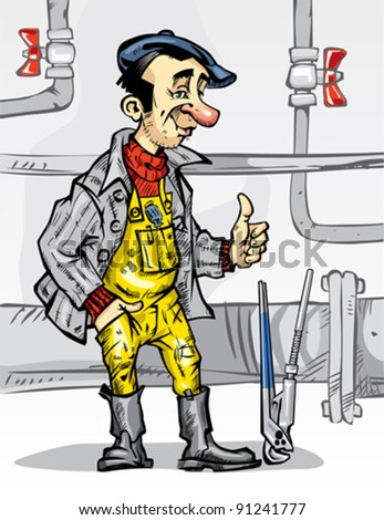 The Plumber works in the boiler room. The Plumber wears overalls and boots at work. Near to him his tools and setter (gas) key. The work is done! Pipes is repaired!