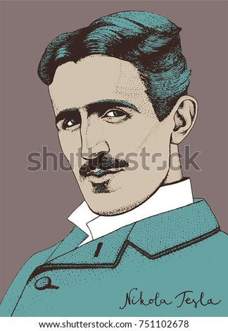 The portrait of Nikola Tesla