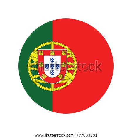 The Portuguese flag in the form of a glossy icon, White paper circle with flag of Portugal. Abstract illustration.