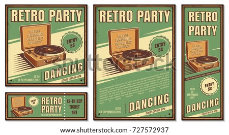 The poster in vintage style on a retro party banner, invitation, flyer, advertising. Vector illustration of retro disco and dance. Old microphone. Other variations you can find in my portfolio. - Shutterstock ID 727572937
