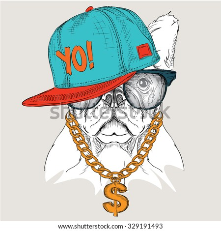 The poster with the image dog portrait in hip-hop hat. Vector illustration.